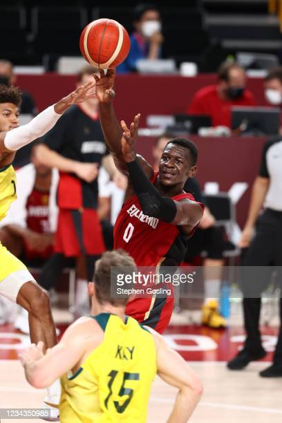 Isaac Bonga of the Germany Men's National Team passes the ball during the game against the Australia Men's National Team during the 2020 Tokyo...