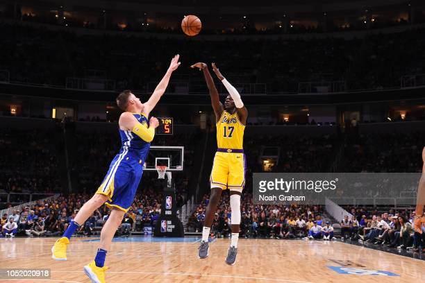 Isaac Bonga of the Los Angeles Lakers shoots the ball against the Golden State Warriors on October 12 2018 at SAP Center in San Jose California NOTE...