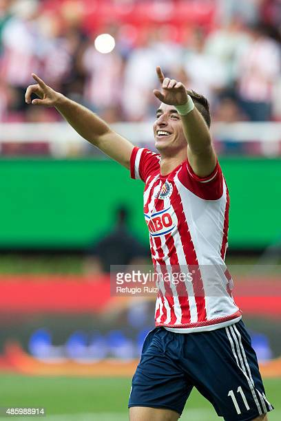Isaac Brisuela of Chivas celebrates after scoring the fourth goal of his team during a 7th round match between Chivas and Chiapas as part of the...
