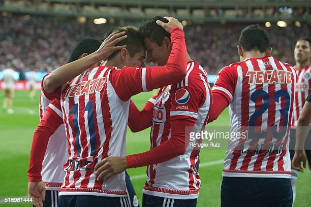 Isaac Brisuela of Chivas celebrates after scoring the second goal of the game during the 12th round match between Chivas and Pumas UNAM as part of...