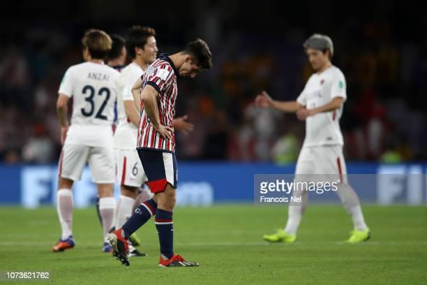 Isaac Brizuela of CD Guadalajara reacts after the FIFA Club World Cup UAE 2018 Second round match between Kashima Antlers and CD Guadalajara at the...