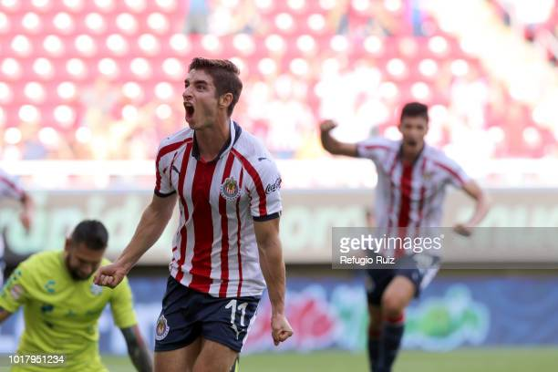 Isaac Brizuela of Chivas celebrates after scoring the first goal of his team during the fourth round match between Chivas and Santos Laguna as part...