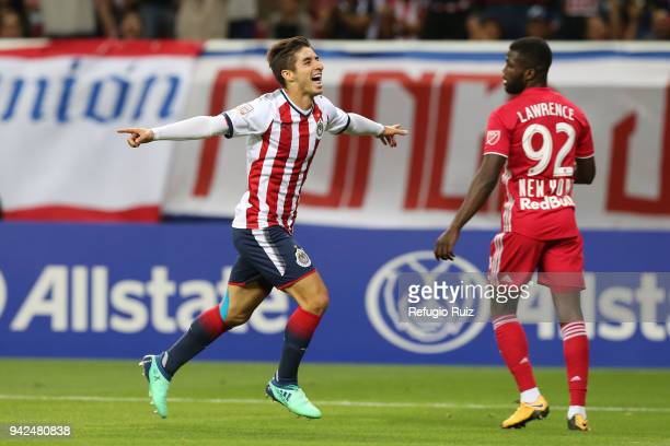 822224e59b2 Isaac Brizuela of Chivas celebrates after scoring the first goal of his  team during the semifinal