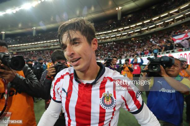 Isaac Brizuela of Chivas celebrates after scoring the second goal of his team during the first round match between Chivas and Tijuana as part of the...