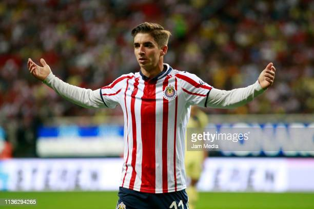 Isaac Brizuela of Chivas gestures during the 1th round match between Chivas and America as part of the Torneo Clausura 2019 Liga MX at Akron Stadium...