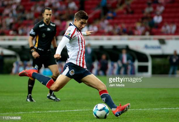 Isaac Brizuela of Chivas kicks the ball during the fifth round match between Chivas and Veracruz as part of the Torneo Clausura 2019 Liga MX at Akron...