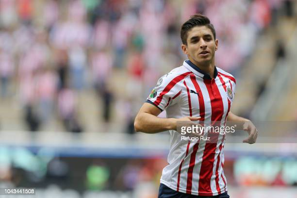 Isaac Brizuela of Chivas looks on during the 10th match between Chivas and Queretaro as part of the Torneo Apertura 2018 Liga MX at Akron Stadium on...