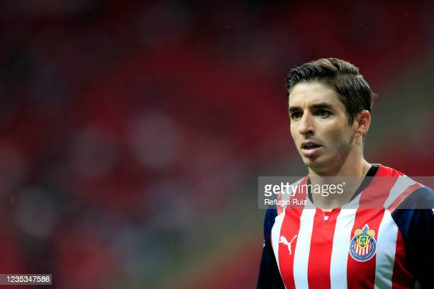 Isaac Brizuela of Chivas looks on during the 9th round match between Chivas and Pachuca as part of the Torneo Grita Mexico A21 Liga MX at Akron...