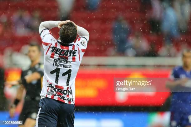 Isaac Brizuela of Chivas reacts during the 2nd round match between Chivas and Cruz Azul as part of the Torneo Apertura 2018 Liga MX at Akron Stadium...