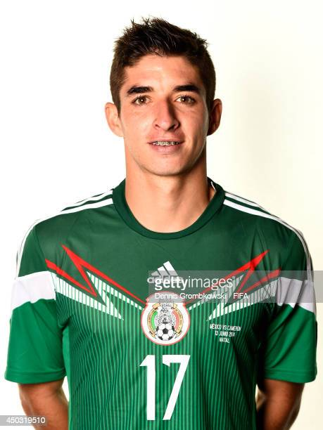 Isaac Brizuela of Mexico poses during the Official FIFA World Cup 2014 portrait session on June 8 2014 in Santos Brazil