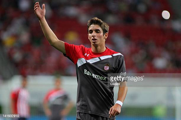 Isaac Brizuela of Toluca during a match between Chivas and Toluca as part of the Torneo Clausura 2012 at Omnilife Stadium on March 24, 2012 in...