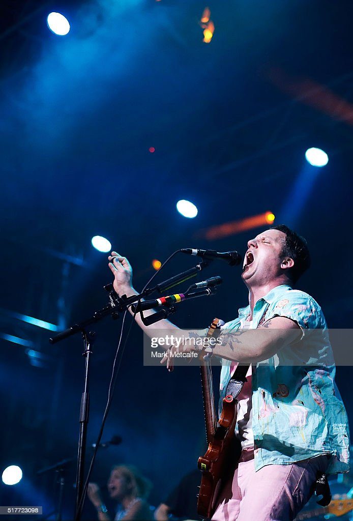 Isaac Brock of Modest Mouse performs live for fans at the 2016 Byron Bay Bluesfest on March 27, 2016 in Byron Bay, Australia.