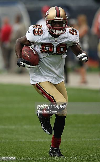 Isaac Bruce of the San Francisco 49er sruns with the ball during warmups before a game against the Chicago Bears on August 21 2008 at Soldier Field...
