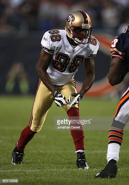Isaac Bruce of the San Francisco 49ers prepares to run a play during a game against the Chicago Bears on August 21 2008 at Soldier Field in Chicago...