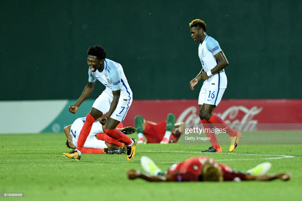 Isaac Buckley-Ricketts of England (l) celebrates at the final whilst after winning the UEFA European Under-19 Championship Final between England and Portugal on July 15, 2017 in Gori, Georgia.