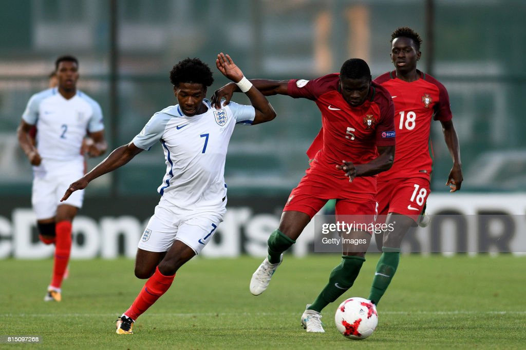 Isaac Buckley-Ricketts of England in action with Abdu Conte of Portugal during the UEFA European Under-19 Championship Final between England and Portugal on July 15, 2017 in Gori, Georgia.
