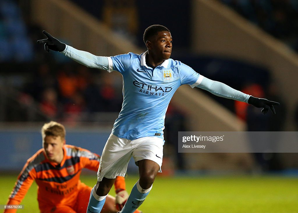 Isaac Buckley-Ricketts of Manchester City celebrates after scoring their second goal during the FA Youth Cup Semi Final, First Leg match between Manchester City and Arsenal at the City Football Academy on March 18, 2016 in Manchester, England.