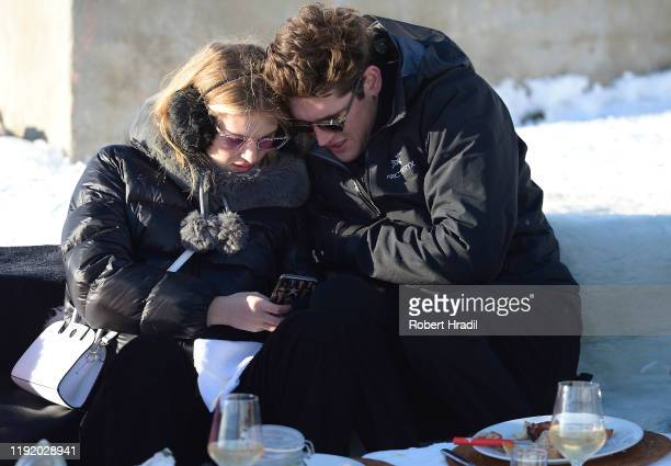 Isaac Carew and Florence Kosky attend Casamigos in the Snow on December 04 2019 in Verbier Switzerland