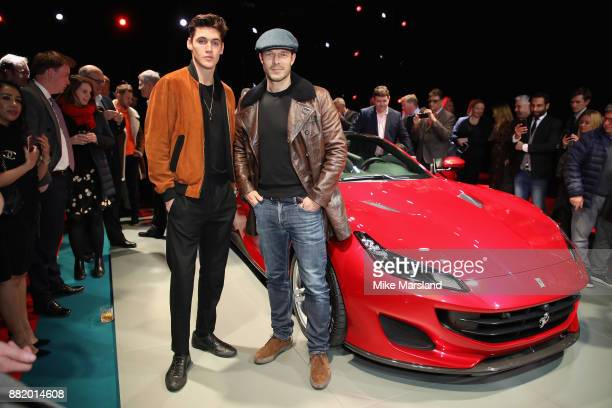 Isaac Carew and Paul Sculfor attend the UK launch event for the new Ferrari Portofino at Kensington Olympia on November 29 2017 in London England