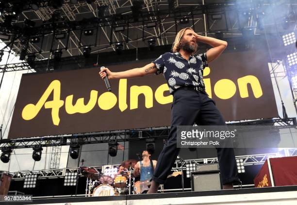 Isaac Carpenter Marc Walloch and Aaron Bruno of AWOLNATION perform onstage at KROQ Weenie Roast 2018 at StubHub Center on May 12 2018 in Carson...