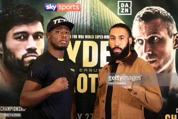 Isaac Chamberlain and Luke Watkins pose for a photo during a press conference with boxing promoter Eddie Hearn at The Courthouse Hotel on September...