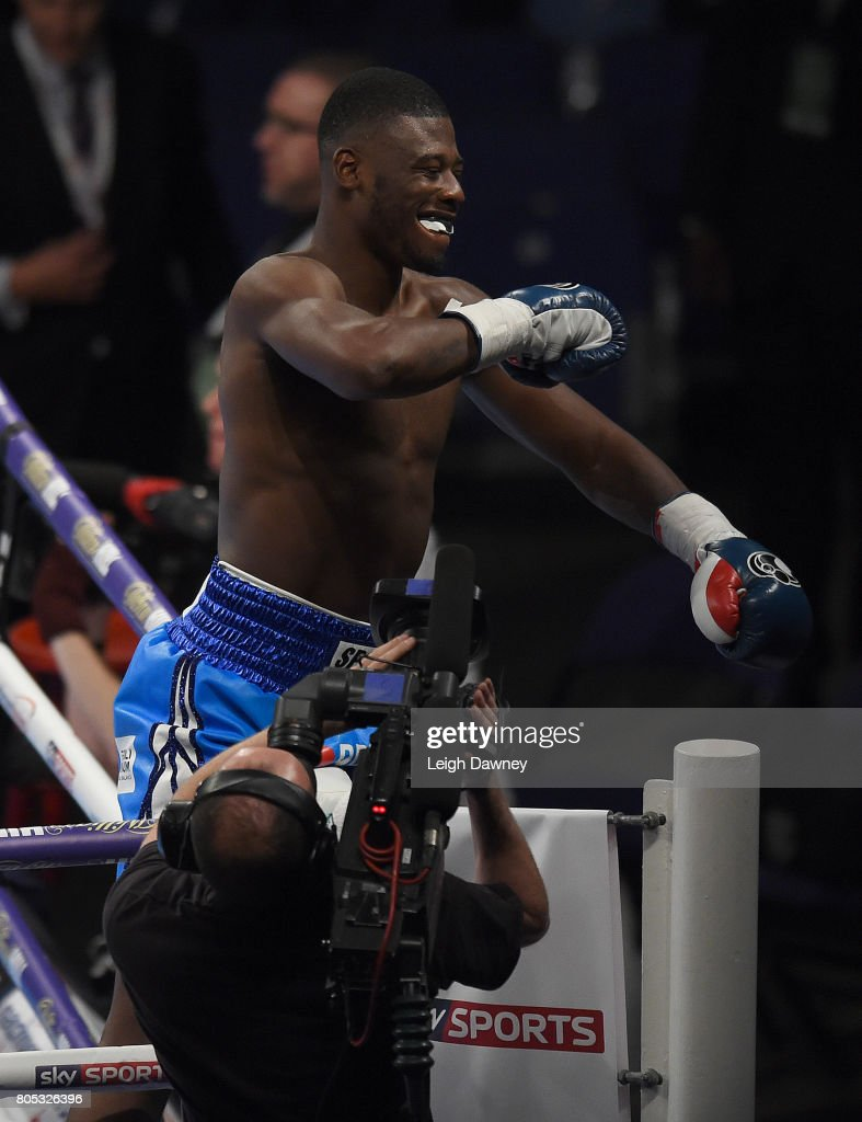 Isaac Chamberlain celebrates after defeating Ryan Crawford in a Cruiserweight contest at The O2 Arena on July 1, 2017 in London, England.