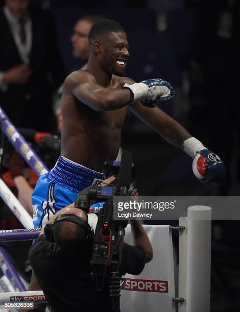 Isaac Chamberlain celebrates after defeating Ryan Crawford in a Cruiserweight contest at The O2 Arena on July 1 2017 in London England