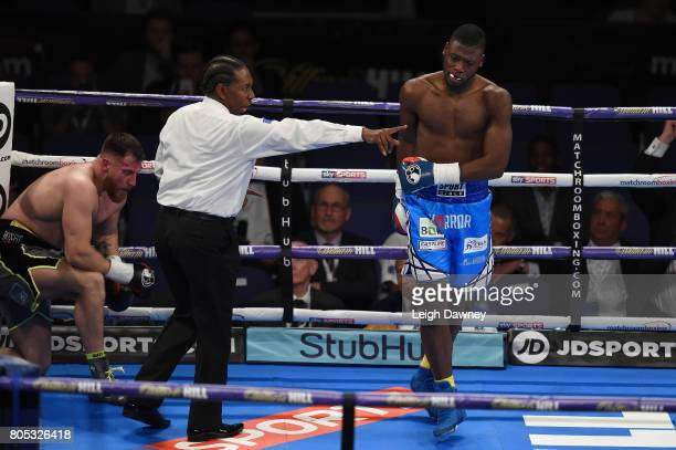 Isaac Chamberlain knocks down Ryan Crawford at The O2 Arena on July 1 2017 in London England