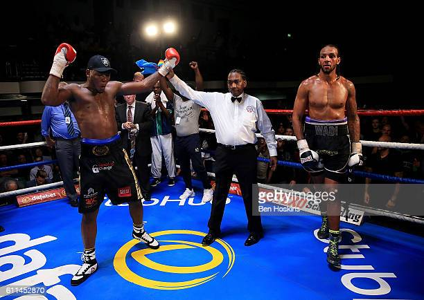 Isaac Chamberlain of England celebrates after defeating Wadi Camacho of England during their Southern Area Cruiserweight Championship contest at York...