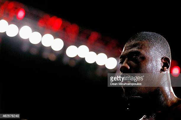 Isaac Chamberlain of England looks on after victory over Moses Matovu of Tanzania in their Cruiserweight Contest prior to the WBC Silver Lightweight...