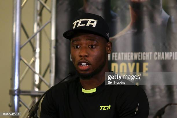 Isaac Chamberlain speaks to the media during a press conference with boxing promoter Eddie Hearn at The Courthouse Hotel on September 13 2018 in...
