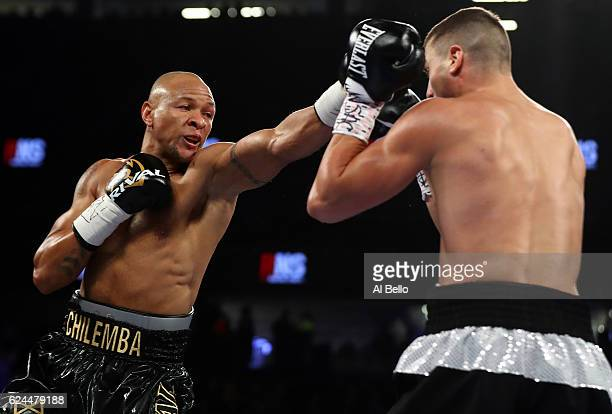 Isaac Chilemba of Malawi lands a left to the head of Oleksandr Gvozdyk of Ukraine during their light heavyweight bout at TMobile Arena on November 19...
