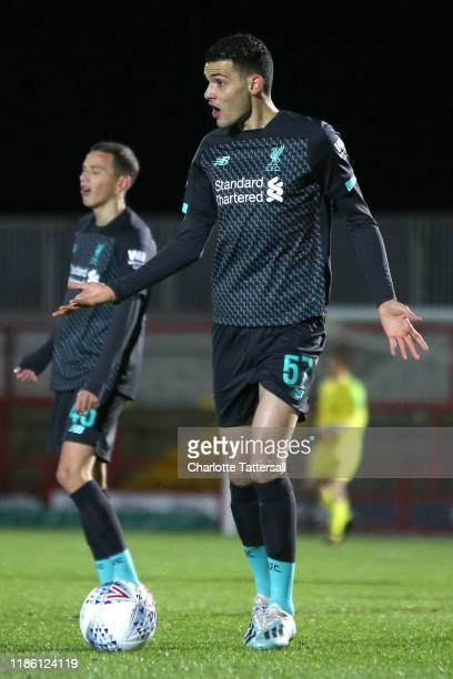 Isaac ChristieDavis of Liverpool U21 reacts during the Leasingcom Trophy match between Accrington Stanley FC and Liverpool U21s at The Crown Ground...