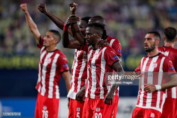 Isaac Cofie of Sivasspor, Mustapha Yatabare of Sivasspor, Olarenwaju Kayode of Sivasspor celebrates goal 2-1 during the UEFA Champions League match...