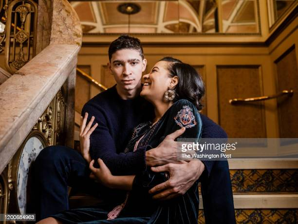 Isaac Cole Powell and Shereen Pimental Tony and Maria in the new Broadway production of West Side Story at the Broadway Theater in New York NY on...