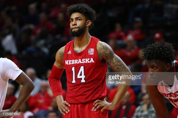 Isaac Copeland Jr #14 of the Nebraska Cornhuskers in action against the Rutgers Scarlet Knights during a game at Rutgers Athletic Center on January...
