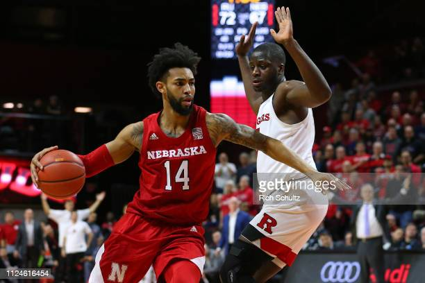 Isaac Copeland Jr #14 of the Nebraska Cornhuskers in action against Eugene Omoruyi of the Rutgers Scarlet Knights during a game at Rutgers Athletic...