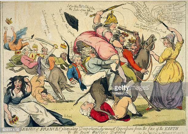 Isaac Cruikshank Scottish school Genius of France extirpating despotism or the royal warriors defeated Marianne is determined to inflict death on all...