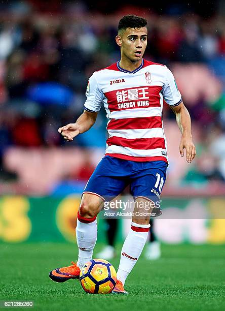 Isaac Cuenca of Granada CF in action during the match between Granada CF vs Deportivo La Coruna as part of La Liga at Nuevo los Carmenes Stadiumon...