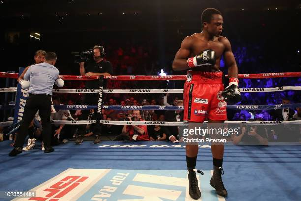 Isaac Dogboe of Ghana celebrates his win by knockout over Hidenori Otake of Japan during the WBO junior featherweight championship bout at Gila River...