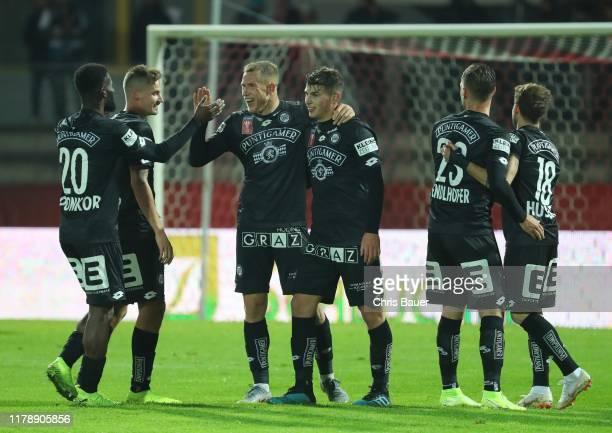 Isaac Donkor, Thorsten Roecher, Bekim Balaj, Ivan Ljubic, Lukas Spendlhofer and Philipp Huspek of SK Sturm Graz celebrate a goal during the Uniqa...