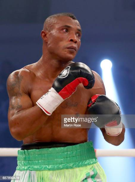 Isaac Ekpo of Nigeria in action against Tyron Zeuge of Germany during their WBA super middleweight championship title fight at MBS Arena on March 25...