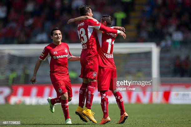 Isaac Esquivel of Toluca celebrates after scoring during a match between Toluca and Chiapas as part of 2nd round Clausura 2015 Liga MX at Nemesio...