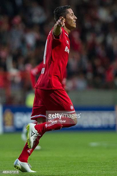 Isaac Esquivel of Toluca celebrates after scoring during a semifinal match between Toluca and Alajuelense as part of the CONCACAF Liga de Campeones...