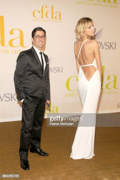 Isaac Franco and Anja Rubik attend CFDA AWARDS 2009 ARRIVALS at Alice Tully Hall on June 15 2009 in New York City