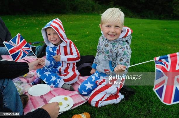 Isaac Gantes and his brother Elliot from Whitby attend the annual Castle Howard Proms Spectacular concert held on the grounds of the Castle Howard...