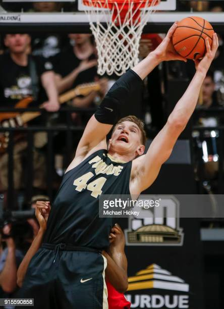 Isaac Haas of the Purdue Boilermakers grabs a rebound during the game against the Ohio State Buckeyes at Mackey Arena on February 7 2018 in West...