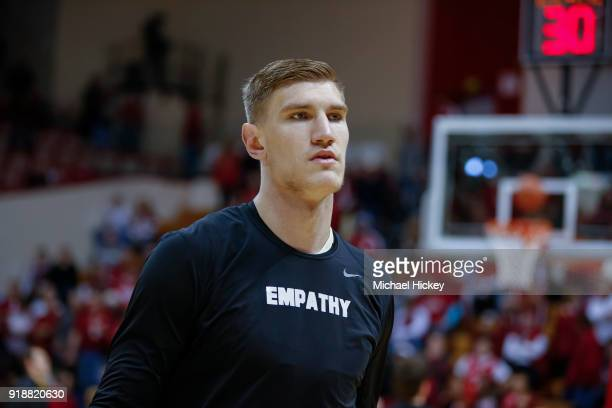 Isaac Haas of the Purdue Boilermakers is seen before the game against the Indiana Hoosiers at Assembly Hall on January 28 2018 in Bloomington Indiana