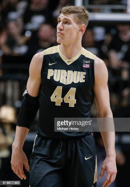 Isaac Haas of the Purdue Boilermakers is seen during the game against the Ohio State Buckeyes at Mackey Arena on February 7 2018 in West Lafayette...