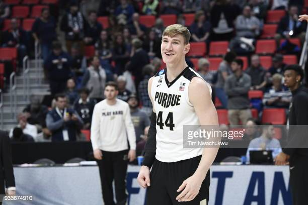 Isaac Haas of the Purdue Boilermakers on the court for warmups before playing theButler Bulldogs in the second round of the 2018 NCAA Men's...